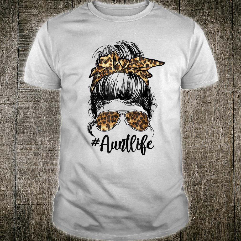 #AuntLife Cute Messy Bun Leopard Girl Mother's Day Shirt
