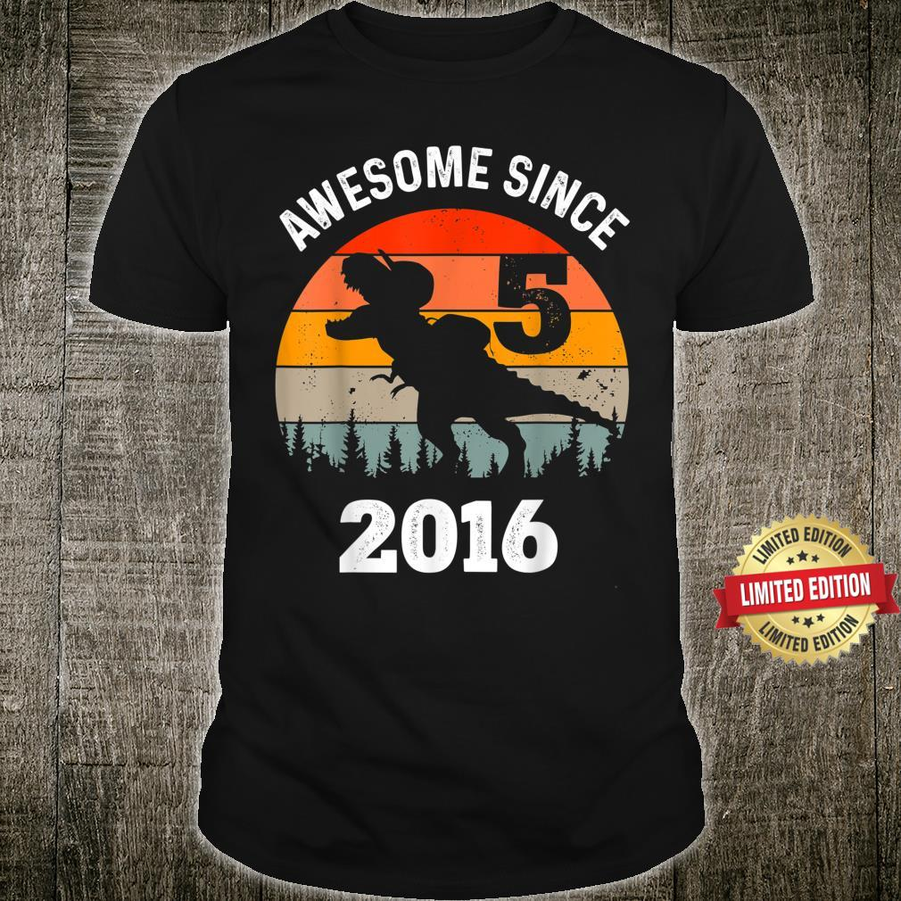 Awesome Since 2016 5th Birthday Dinousar 5 Year Old Boy Shirt