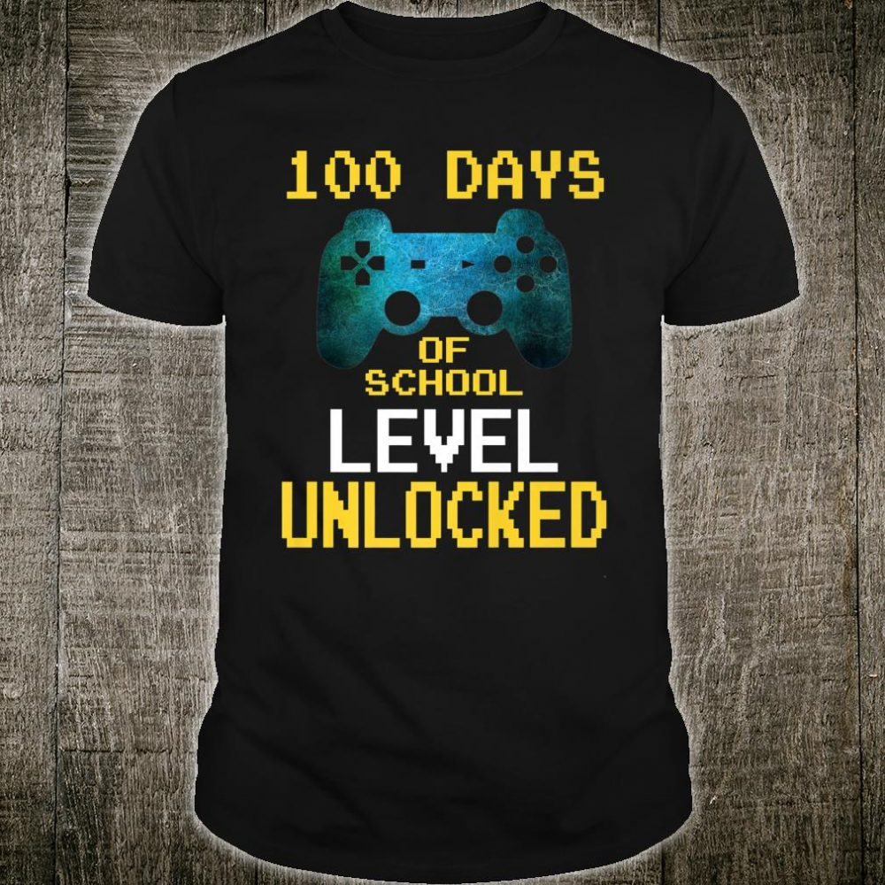 Boys 100 Days Of School Gamer Video Games Level Unlocked Shirt