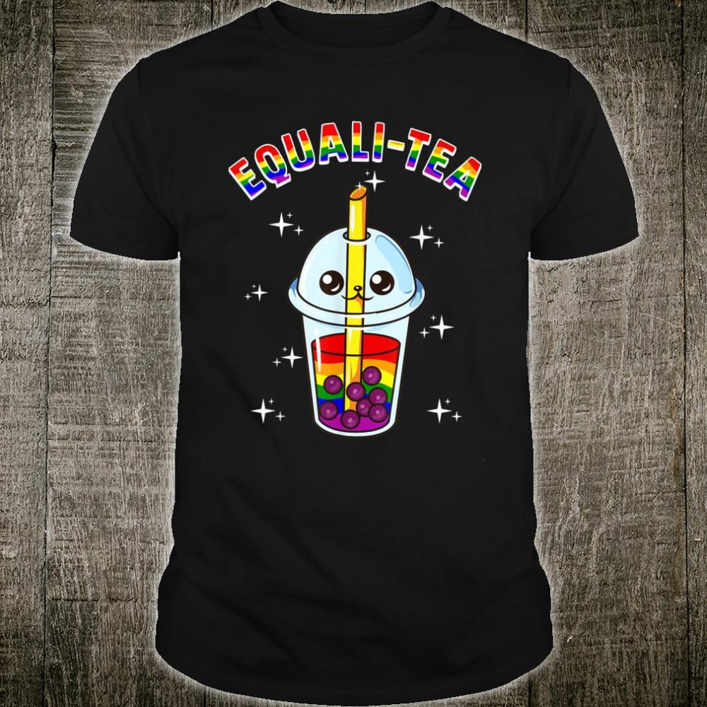 Bubble Tea Boba LBGT Gay Pride Rainbow Milk Flag Anime Shirt