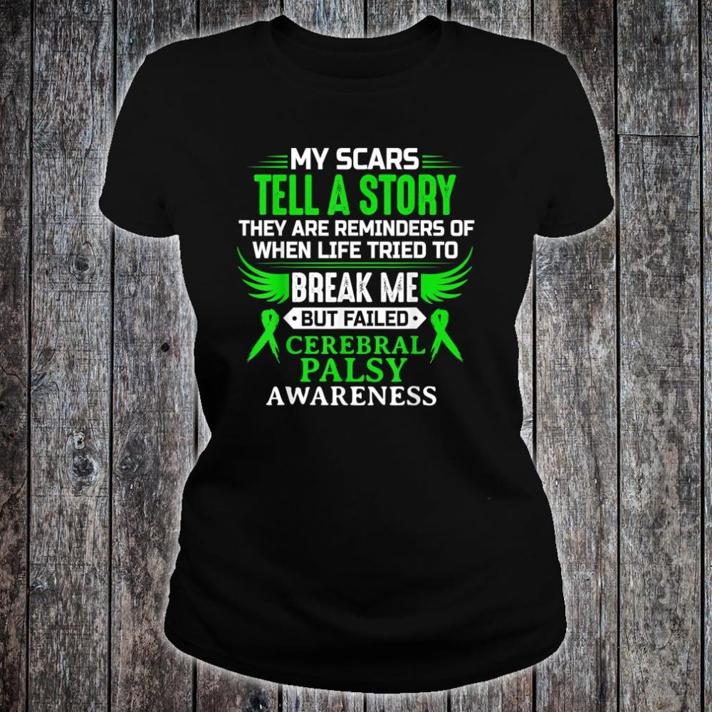 Cerebral Palsy CP Awareness Brain Damage Green Ribbon Shirt ladies tee