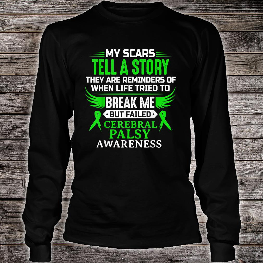 Cerebral Palsy CP Awareness Brain Damage Green Ribbon Shirt long sleeved