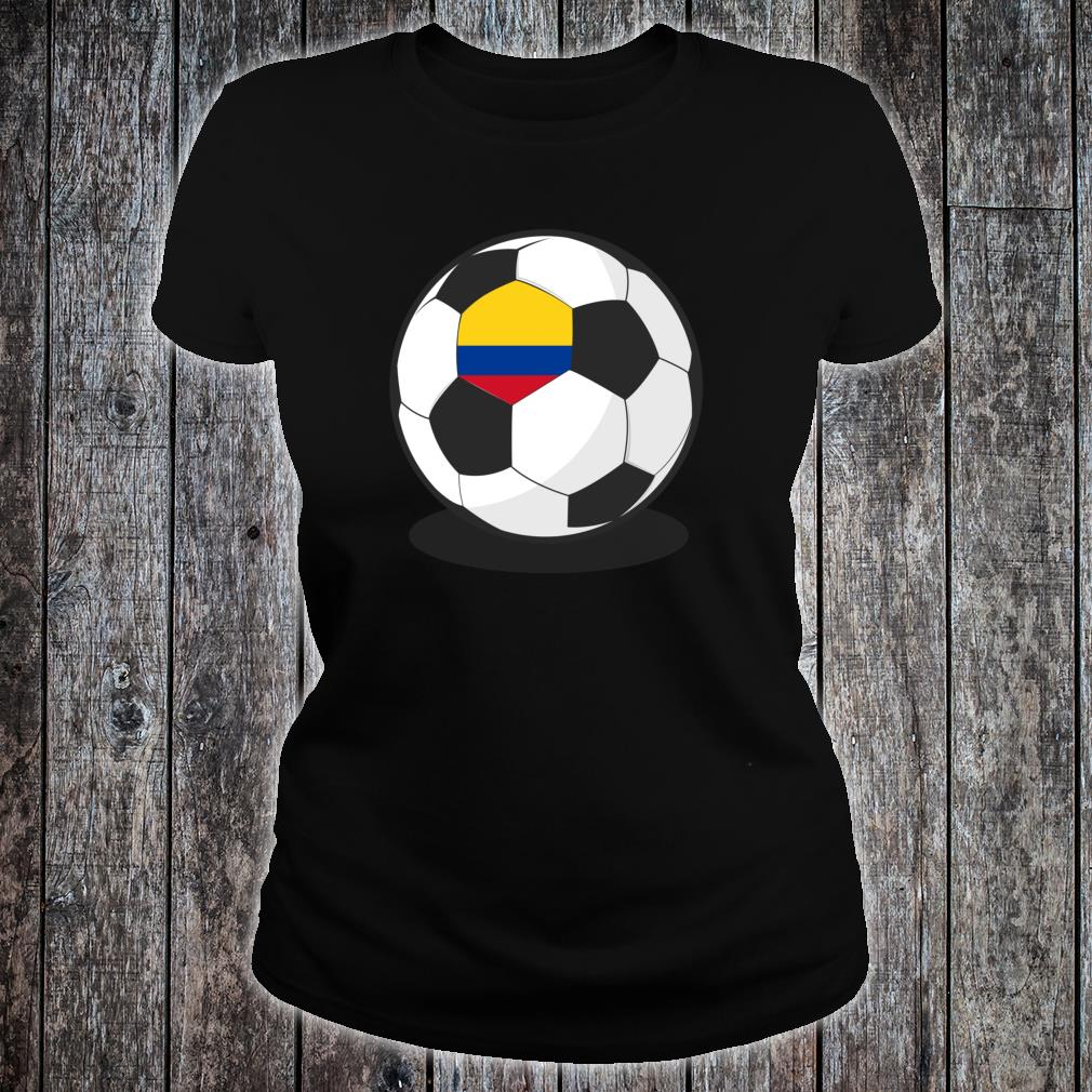 Colombian Flag On Soccer Ball Colombia Football Jersey Shirt ladies tee