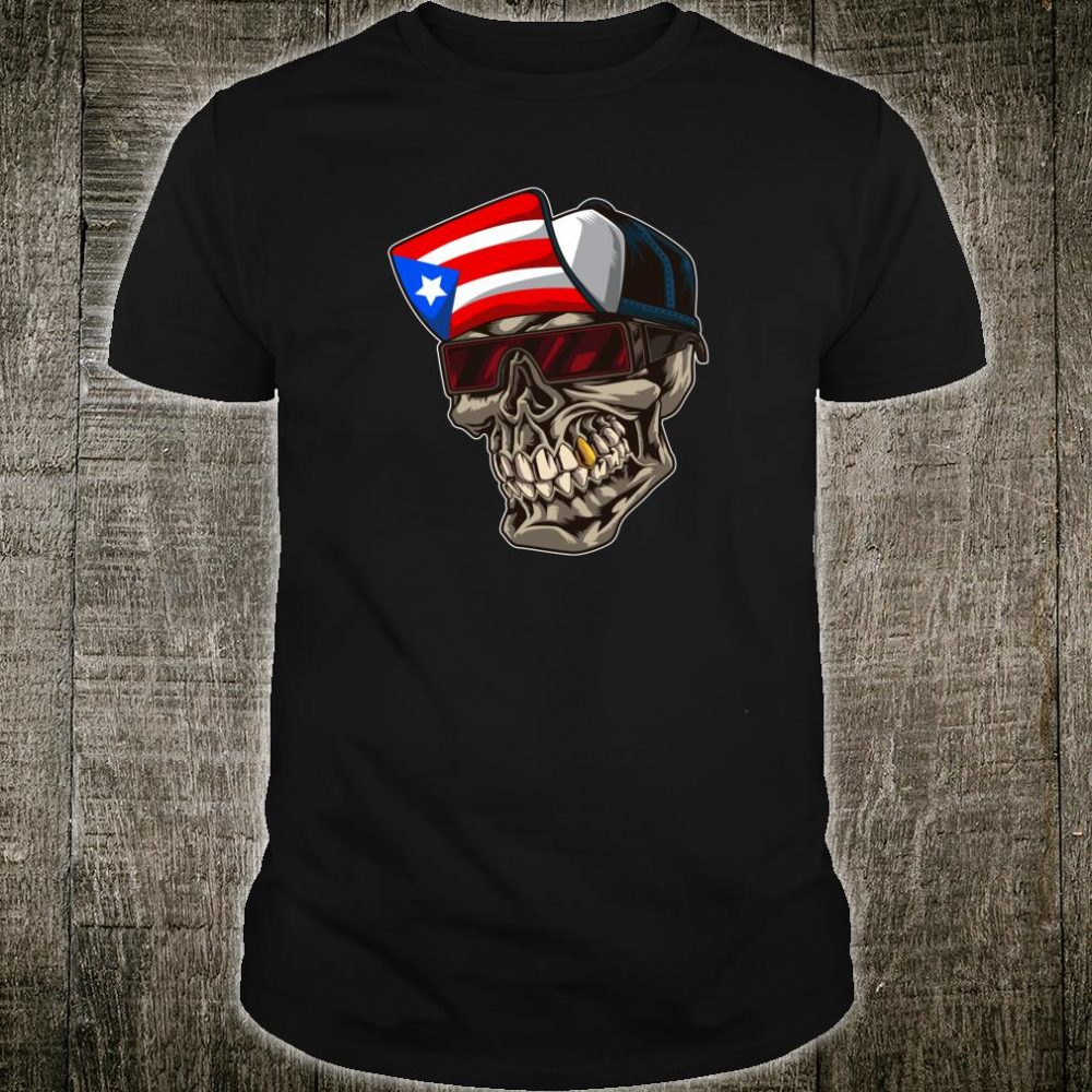 Cool Puerto Rican Skull With Cap And Puerto Rico Flag Shirt