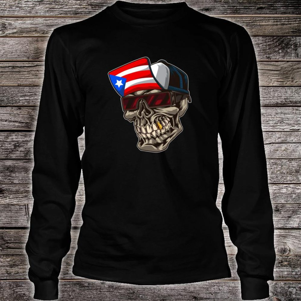 Cool Puerto Rican Skull With Cap And Puerto Rico Flag Shirt long sleeved