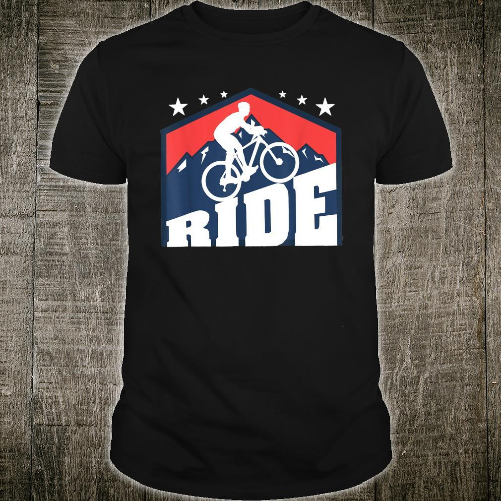 Cyclist In Front Of A Blue Mountain Scenery Bicycle Shirt