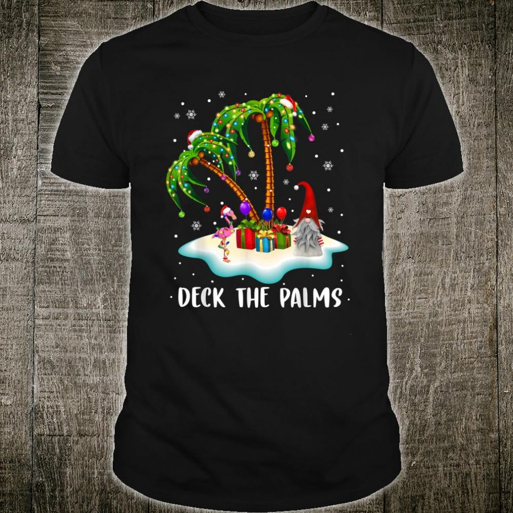 Deck The Palms Tropical Christmas Palm Tree Coconut Lights Shirt