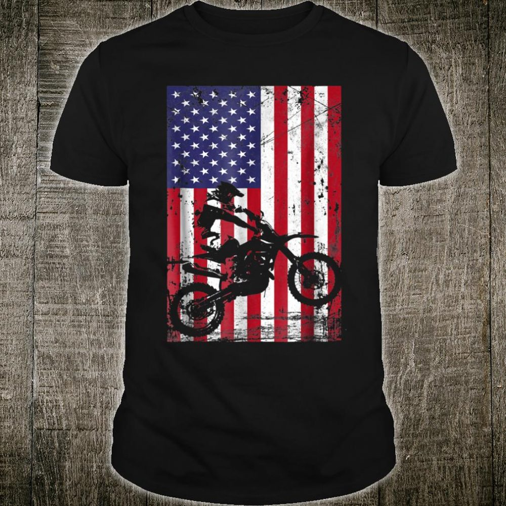 Dirt Bike American Flag Born in july Shirt