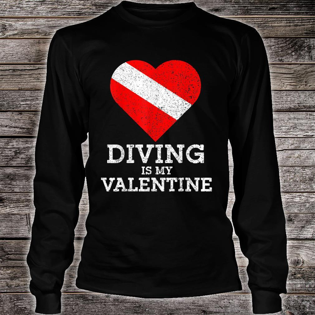 Diving Is My Valentine Heart Scuba Diver Valentines Day Shirt long sleeved