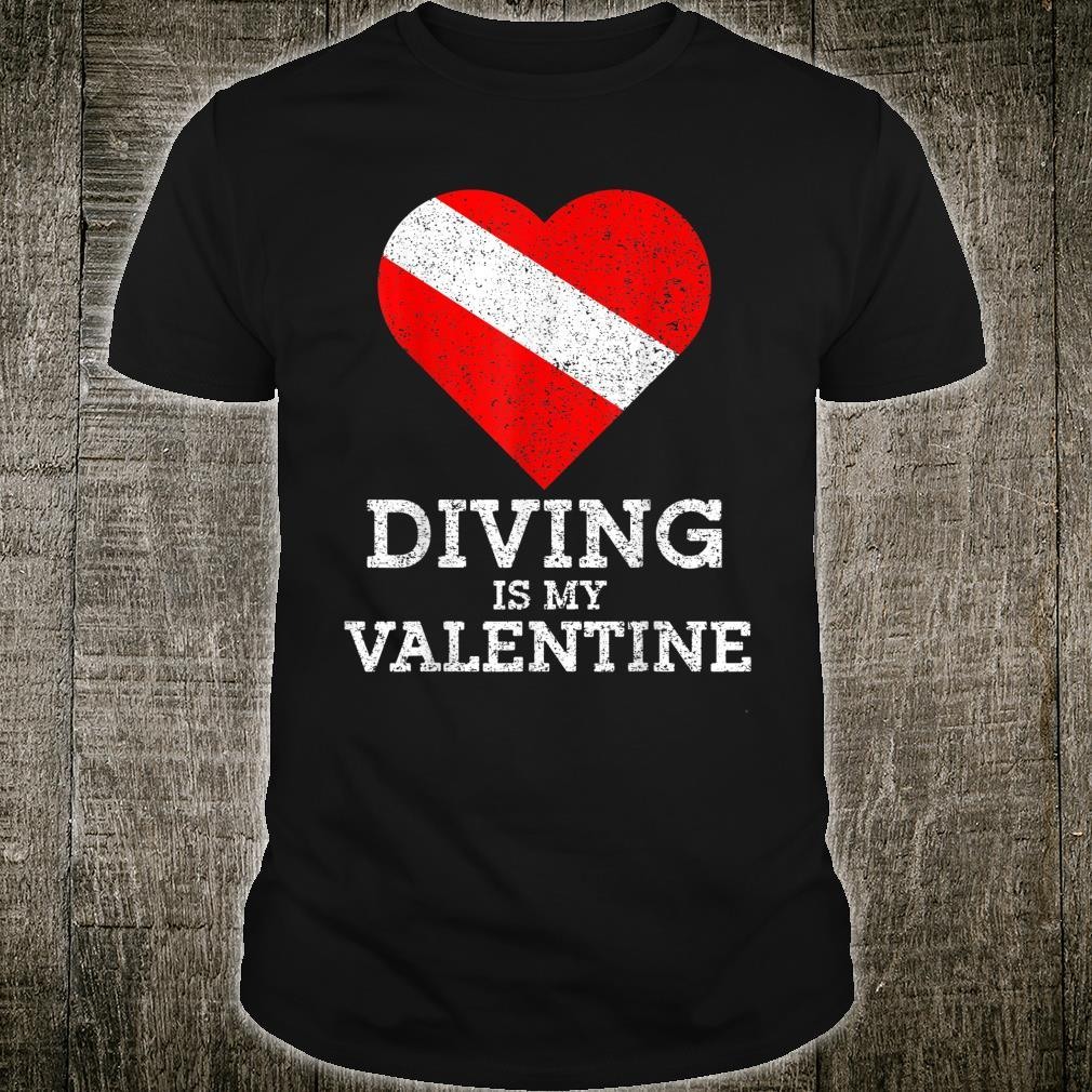 Diving Is My Valentine Heart Scuba Diver Valentines Day Shirt