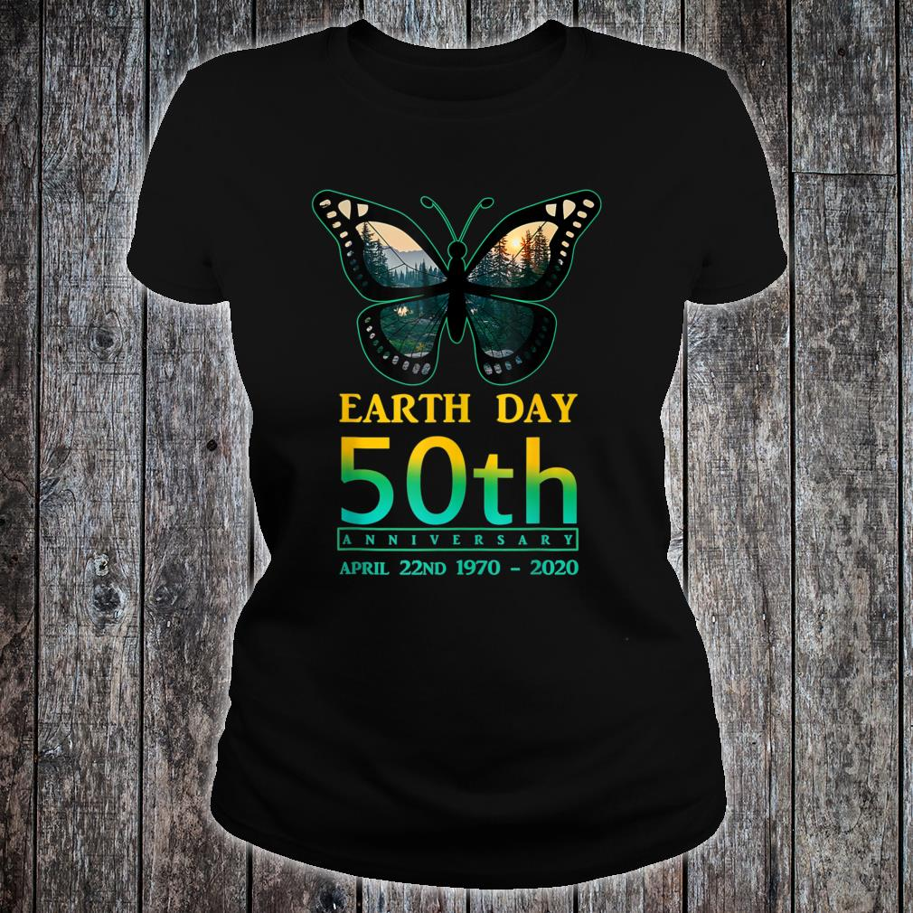 Earth Day 50th Anniversary Butterfly and Ladybug Silhouette Shirt ladies tee
