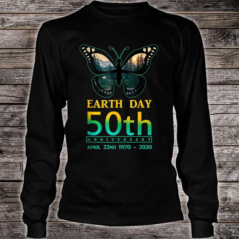Earth Day 50th Anniversary Butterfly and Ladybug Silhouette Shirt Long sleeved