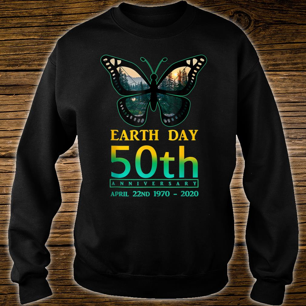 Earth Day 50th Anniversary Butterfly and Ladybug Silhouette Shirt sweater