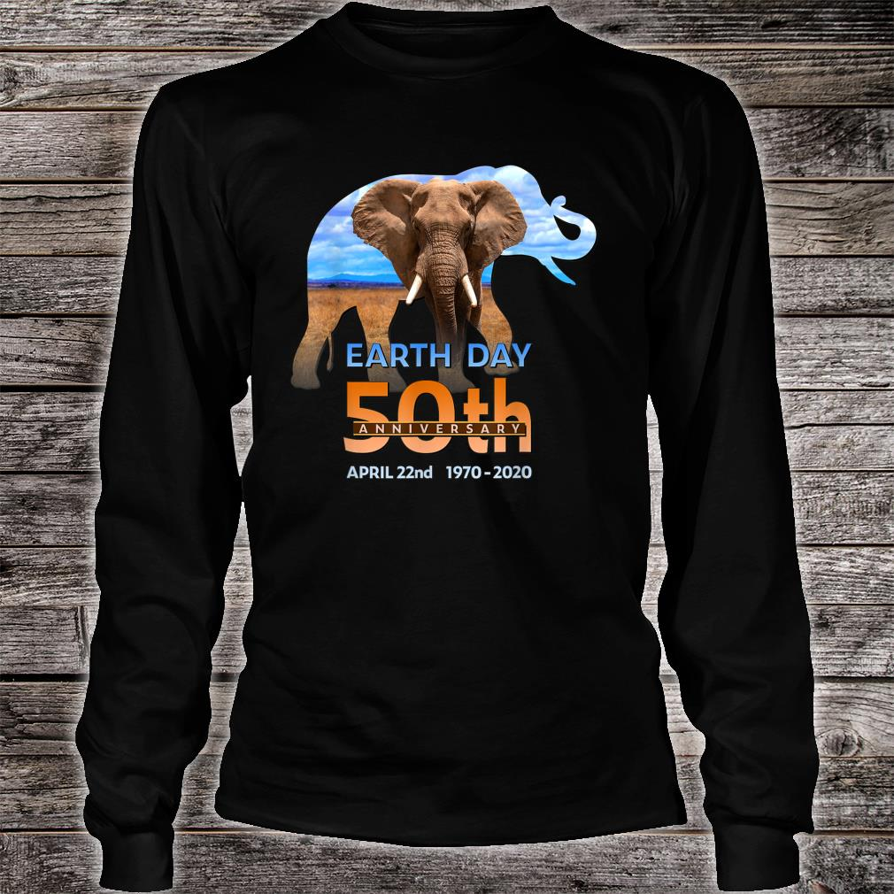 Earth Day 50th Anniversary Elephant 2 Silhouette Shirt Long sleeved
