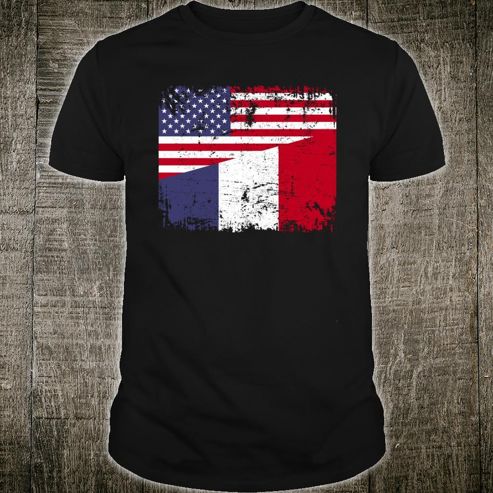 FRENCH ROOTS Half American Flag Shirt