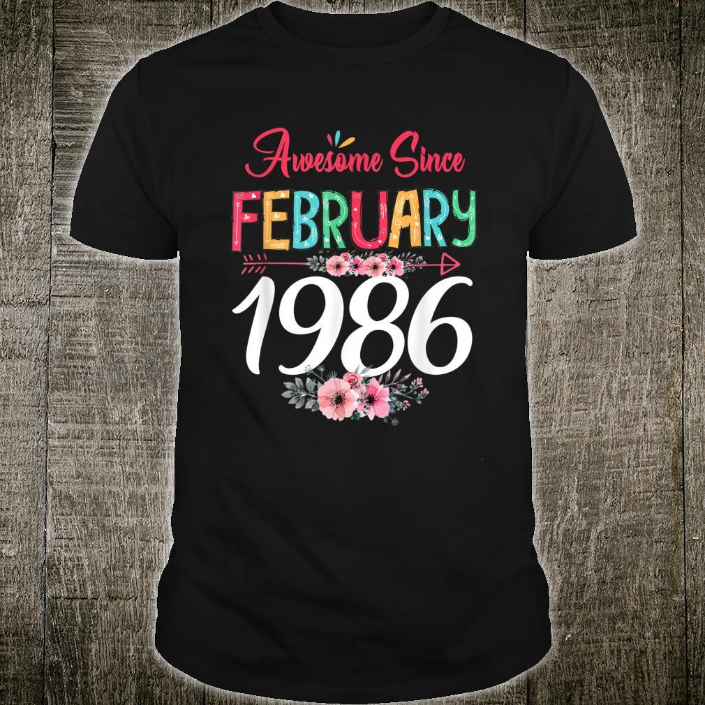 February Girl 1986 Floral 35Th Birthday 35 Years Old Shirt
