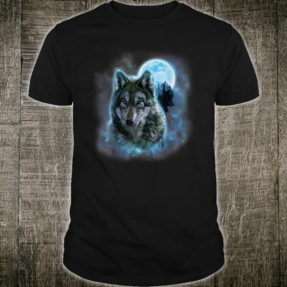Grey Wolf Hunting Ground, Icy Moon, Forest, Galaxy Shirt