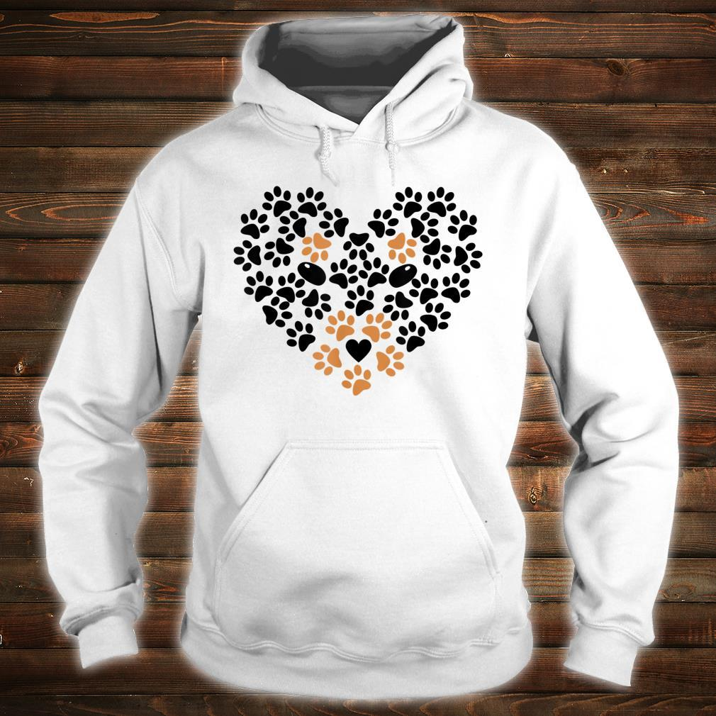 Heart Shape Paw Print Black and Brown Dog Valentine's Day Shirt hoodie