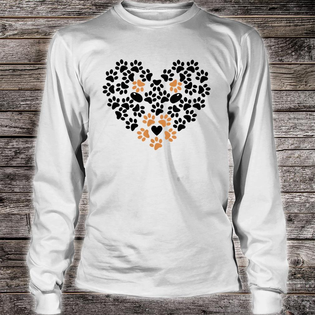 Heart Shape Paw Print Black and Brown Dog Valentine's Day Shirt long sleeved