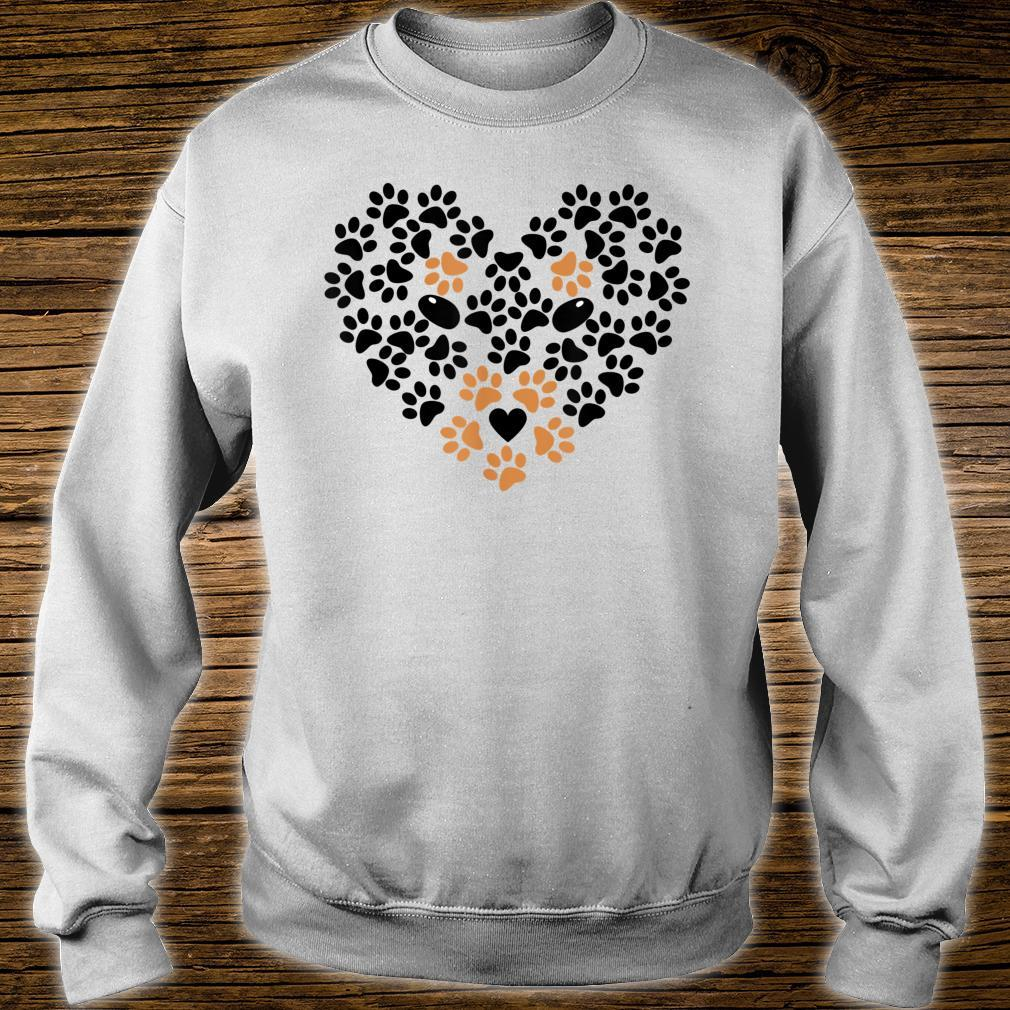 Heart Shape Paw Print Black and Brown Dog Valentine's Day Shirt sweater