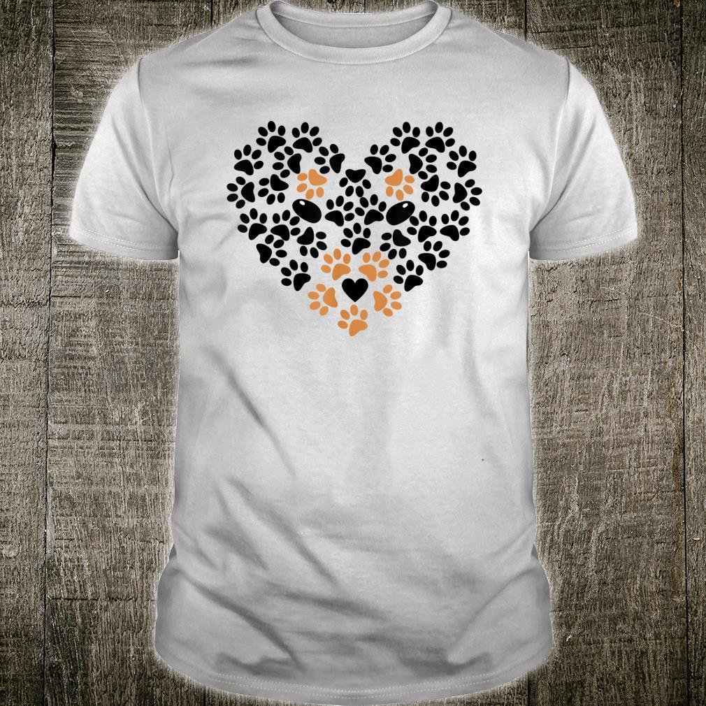 Heart Shape Paw Print Black and Brown Dog Valentine's Day Shirt