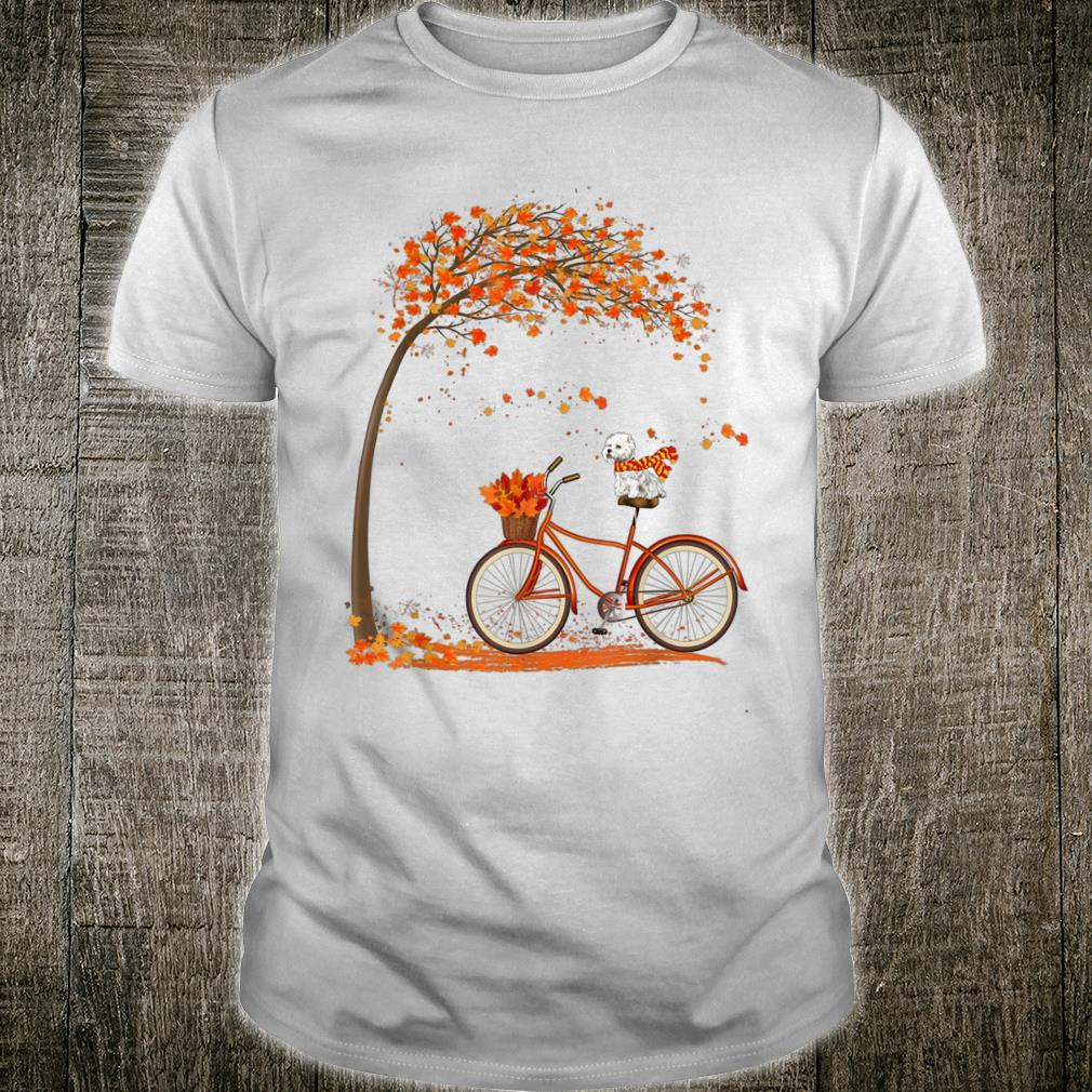 Lovely Westie in fall, funny dog riding bicycle Shirt