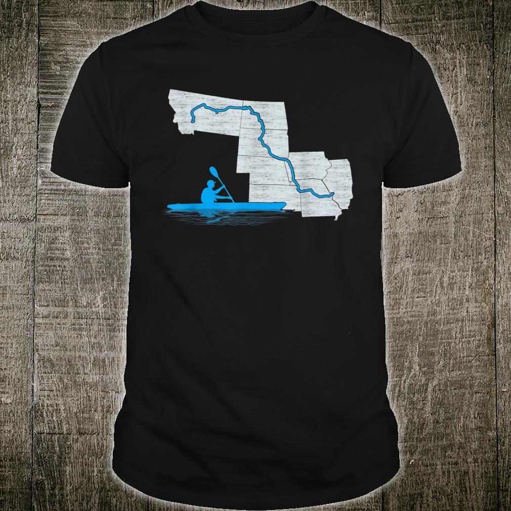 Missouri River Kayaking Paddling Water Trail Map Graphic Shirt