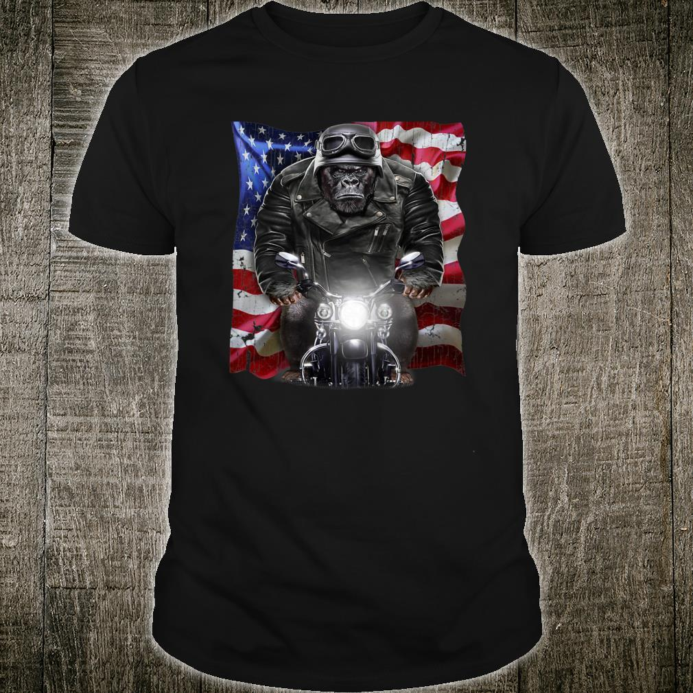 Patriot Gorilla on Motorcycle with Flag of USA Shirt
