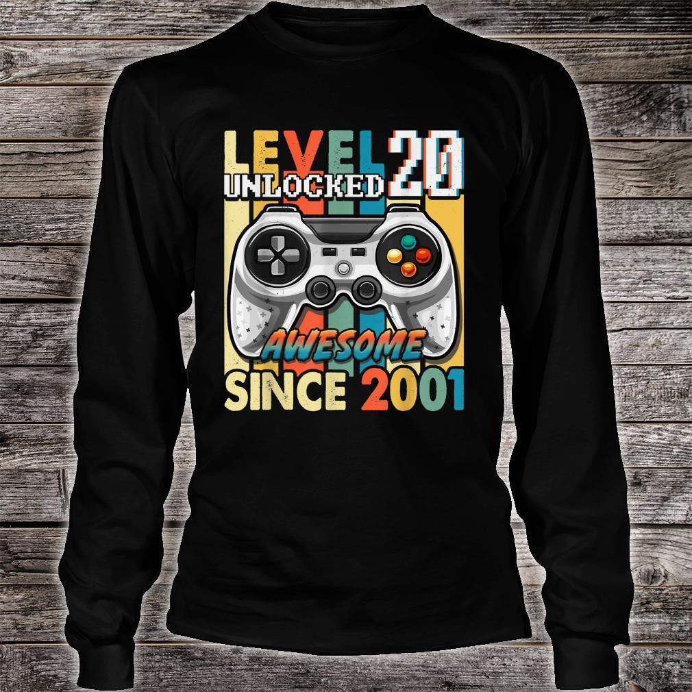 Vintage Retro 2001 Level 20 Unlocked 20 Years Old 20th Bday Shirt long sleeved