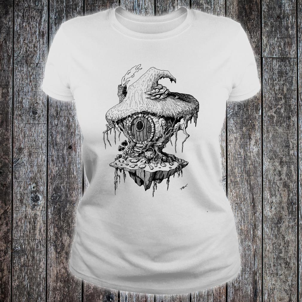 Witch's Hut Hovel Castle Medieval Surreal Series Inkomancer Shirt ladies tee