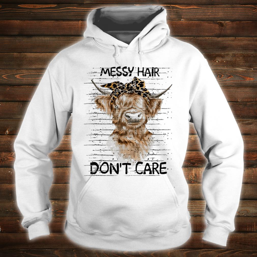 messy hair don't care cow shirt hoodie
