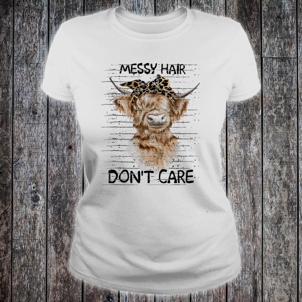 messy hair don't care cow shirt ladies tee