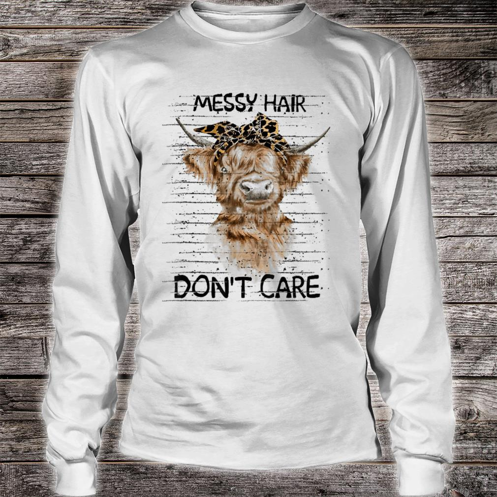 messy hair don't care cow shirt long sleeved