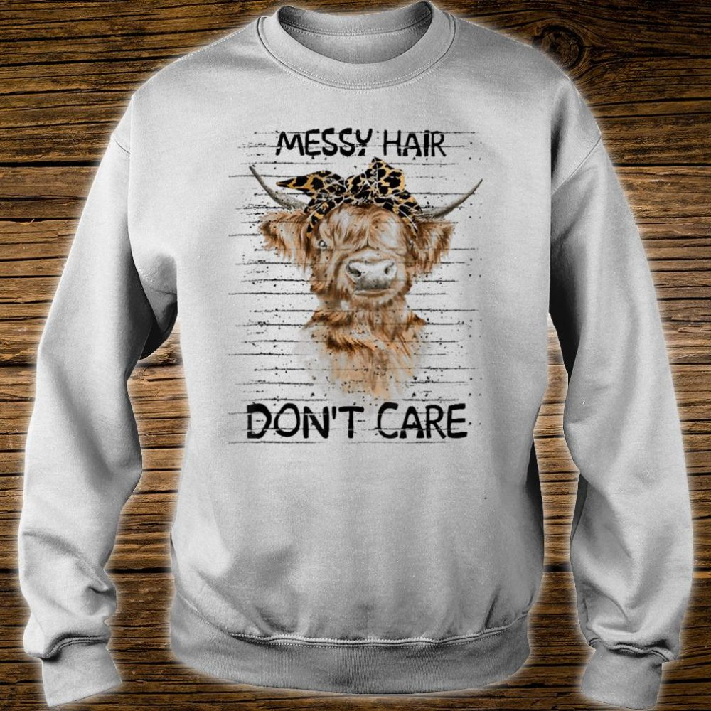 messy hair don't care cow shirt sweater